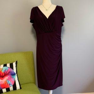 Lauren Ralph Lauren Plum Ruched Midi Dress C3